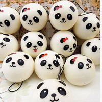 Wholesale Panda Key Chain - Wholesale Cute Cartoon Face Squishy Buns Panda Charms Bag Key Mobile Phone Straps Pendant 10cm Chain Cellphone Hot Sale