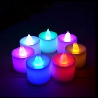 Wholesale Tea Light Candle Lamps - LED Electronic Candle Tea Light Lamp Many Color LED Candle Lamp Electronic Candle Night Light Party Wedding Christmas Festival Lamp