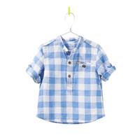 chemise à col mandarin bébé garçon achat en gros de-Nouveau Garçon bébé col montant T-shirt Enfant Garçon Grille T-shirt manches longues Enfants top vente en gros