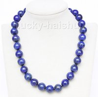 "Wholesale Lapis Lazuli Pearl Necklace - natural 18"" 12mm round lapis lazuli necklace filled gold clasp j9735"