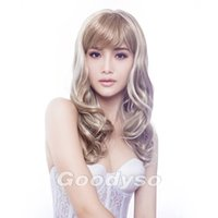 Wholesale Blond Bangs Wig - Hair weaves long blond women hair wig with a bang kanekalon wig european wigs and more female wigs 1pc Lot Free Shipping 3295