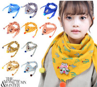 Wholesale Rabbit Print Shawl - Kids scarf boys floral cactus printed scarves girls cute bear pompon applique princess capes kids cartoon rabbit poncho shawl R0341