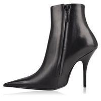 sapatos de vestido de cetim preto mulheres venda por atacado-Mais recente Mulheres Apontou Toe Vestido Sapatos Ankle Boots Stiletto Sólida Sapatos De Salto Alto Runway Botas de Moda Sexy Preto Feminino Punk Shoes Inverno Botas