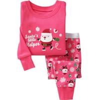 Wholesale Kids Pjs Pajamas - Wholesale- 2015 Christmas Pyjamas Kids Clothes Baby Boys Girls Clothing Long Sleeve Costume Cotton Pajamas PJS Childrens Sleepwear Pijamas