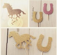 Wholesale Horse Decorations Wholesale - personality 30pcs fashion Glitter Horse Equestrian Cupcake Toppers, Pony Cowgirl, Kentucky Derby Party Decorations wedding toothpicks