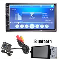 mando a distancia mp4 al por mayor-7018B 7 pulgadas LCD HD 2-DIN Coche en el tablero Pantalla táctil Bluetooth Coche Estéreo FM MP3 MP5 Radio Player con control remoto inalámbrico CMO_20D