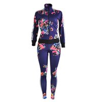 Wholesale Tie Outfits - Wholesale- 2016New Autumn Winter 2 Piece Set Women Printed Slim Long Sleeve And Pants Twinset Tracksuit Woman Tie Dye Two Piece Set Outfits