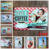 Cozinha Cook Coffee Wine Vintage Craft Tin Sign Retro Metal Painting Antique Iron Poster Bar Pub Signs Wall Art Sticker (Mixed designs)