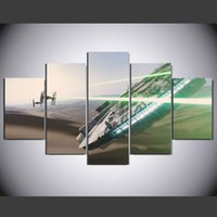 Wholesale 5 Set Framed HD Printed Painting star wars fan art painting room decoration poster canvas framed art wall