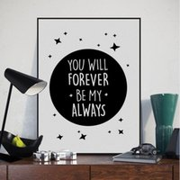 Wholesale Wall Art Quotes Canvas - Nordic Minimalist Black White Star Typography Love Quotes A4 Art Print Poster Wall Picture Canvas Painting Kids Room Home Decor