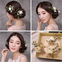 Wholesale Clamps Bride - Woman headdress hair Lomen bride Korean sweet simulation flower hairpin side clamp bride headdress jewelry hair 6073925