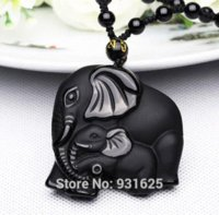 Wholesale Handwork Coins - Chinese Handwork Natural Black Obsidian Carved Mother Baby Cute Elephant Amulet Lucky Pendant Necklace Fashion Jewelry
