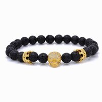 20см бренд Модные натуральные бусины Strand браслет Micro Pave Cz Skeleton Skull Black Lava Rock Stone Energy Men European Buddha Jewelry