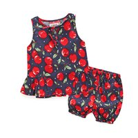 Wholesale Leopard Vest For Baby Girls - Summer Cherry Pattern Baby Girl Clothes 2pcs baby girls clothing sets for newborns vest belt vest+short pants tracksuit