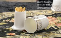 Wholesale Wedding Tables China - Wholesale- Quality bone china stand tube for toothpick, ceramic wedding table holders,toothpick holder, for storage