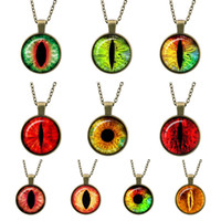 Wholesale Eyeball Glasses - Fashion 2017 New European Retro Cat Eye Eyeball Punk Glass Cabochon Necklace Time Gem Antique Bronze Jewelry sweater Pendants jewelry