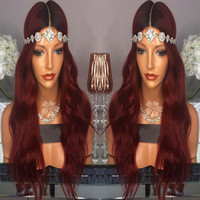 Wholesale Lace Front Red Cosplay Wig - Body Wave Mine Red Ombre Wig Synthetic Lace Front Wig High Quality Heat Resistant Red Lace Front Wig For Women 26'Length Cosplay