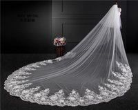 Robe de mariage en dentelle 3 m France-Voiles nuptiales 3m Largeur 3.5-mètres Longueur 2T Fleurs faites à la main Haute qualité Luxury Veil Collection 2017 Vintage Lace Wedding Veils with Comb