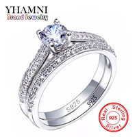 Wholesale real bridal jewelry - SONA CZ Diamant Engagement Rings Set real 925 Sterling Silver Rings For Women Band Wedding Rings Promise Bridal Jewelry JZR131