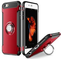 Wholesale Car Dark Red - Ring Grip 360 Degree Rotating Case Car Holder Stand Magnetic Suction Bracket Case for iPhone 8 8plus 7 7plus 6 6s 5 5S TPU+PC Case