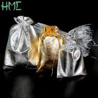 Wholesale Organza 7x9 - Wholesale 50pcs lot 7x9 9x12 10x15 13x18cm Metallic Gold Silver Color Drawable Organza Pouch Christmas Wedding Gift Jewelry Bag