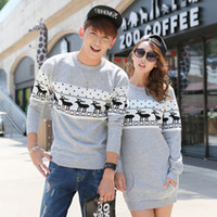 Wholesale Korean Couple Pullover - Wholesale-2016 Christmas sweaters Korean Men's Women Round collar long sleeve pullover sweaters Plus Size matching deer Couple sweaters