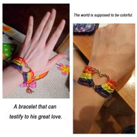 Wholesale gifts for gay men - LGBT bracelet Pulsera Gay Pride multicolor PRIDE leather bracelets jewelry Lesbian for Men and Women collares 4pcs lot AHYBX3238