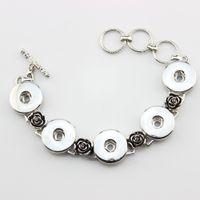 Wholesale Channel Flower - Wholesale- DIY Bangles 18mm Ginger Snap Bracelet Metal Rose Flower Button Snap Jewelry Bracelet (25cm+5cm) Christmas Gifts 5pcs lot