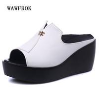 Wholesale Women Flatform Sandals - WAWFROK Genuine Leather Women Sandals 2017 New Fashion Flat Flatform Women Shoes Breathable Wedges Summer Shoes