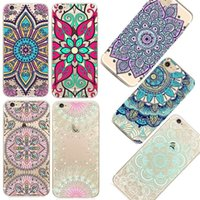 Wholesale Silicon Pattern - Clear Pattern Phone Cases for iPhone 6 6S 5 5s SE Soft Silicon Vintage Black Cover Datura Paisley Flower Mandala Case Capa