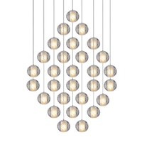 plafonnier en cristal plafonné achat en gros de-Dimmable 10CM Crystal Ball LED Pendant Lights 3-5-7-10-12-14-18-21-26-28-36-46 Light Round / Square / Rectangle Base LED Meteor Plafonnier