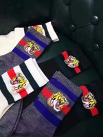 Wholesale Tiger Cashmere - Free shipping superior quality woolen classic stipes tiger head embroidery socks for man and women mid-calf length sock