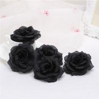 dekoratif gül tomurcukları toptan satış-50 adet 8 cm Ipek Gül Çiçek Düğün Parti Için Mavi Siyah Gül Tomurcukları Kafaları Dekoratif Yapay Simülasyon Ipek Şakayık Kamelya Gül Çiçek