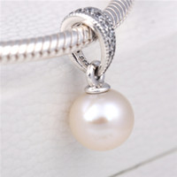 Wholesale Cube Beauty - Loose Bead 925 Sterling Silver Elegant Beauty Dangle Charm with Pearl and Clear CZ Fits European Pandora Jewelry Bracelet Necklace & Pendant