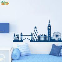 büyük duvarlar için sanat toptan satış-Parti Dekor Dctop Şehir Binası Londra Skyline Siluet Duvar Sticker Big Ben Landmark Vinil Duvar Çıkartması Oturma Odası Duvar Sanatı