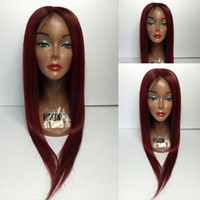 Wholesale Dark Wine Brown Hair - Silky Straight Pure 99J Dark Wine Hair Color Lace front Brazilian Human Hair wigs with Baby Hair for black women