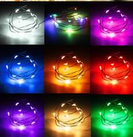 açık renkli çok renkli ışıklar toptan satış-1 M 10 LED Dize Noel Işıkları Peri Pil Açık Renkli Bakır Kablo Tel Parti Düğün Dekor Lamba Su Geçirmez