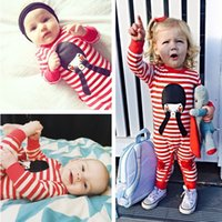 Wholesale Boys Pajamas Size 4t - INS 2017 Autumn Fashion Striped Cartoon Baby Romper Infant Newborn Pajamas Bodysuits Long Sleeves Boys Girls Jumpsuits Baby Clothes 173