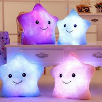Wholesale Plush Pillows For Kids Toy - Wholesale- LED Star Luminous Kids Pillow 35cm Stuffed Soft Plush Glow Cushion Colorful Flashing Pillow Lovely Toys for girls