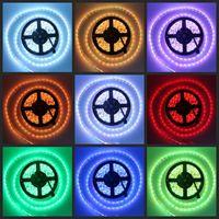 Wholesale Cheap Waterproof Led Lights - Cheap new RGB LED Light Strip 5M Flexible 16ft 5050 SMD 300 LEDs WATERPROOF DC 12V CE ROSH
