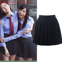 Wholesale Girls School Uniform Skirts - Japan School Girls Uniform Solid Pleated Mini Skirt Cheerleader Sailor Cos Lolita Skirt Women Saias Vestidos