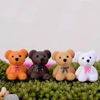 ayı aksesuarları toptan satış-Peri Bahçe Minyatür Teddy Bear Mini Bonsai Süs Yapay Reçine Zanaat Ayı Dekorasyon Aksesuar 2 cm ZA5144