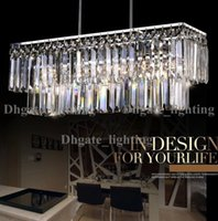 Wholesale Lustres Pendentes Led - Wholesale-rectangle design modern crystal chandelier for dining room lustres e pendentes indoor lighting guaranteed 100%