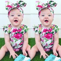 mamelucos del bebé de la vendimia al por mayor-2017 Ins Summer Newborn Baby Girl Vintage Flower Monos mamelucos del mono del bebé mamelucos florales + bowknot diadema trajes