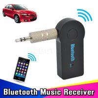 arabayı incit toptan satış-Evrensel 3.5mm Streaming Araba A2DP Kablosuz Bluetooth Alıcısı Bluetooth Araç Kiti AUX Ses Müzik Adaptörü Bluetooth3.1 bluetooth Handsfree wi