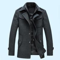 Wholesale Mens Long Casual Wool Overcoats - New Fashion Mens Winter Jacket Wool Coat Slim Fit Jackets Fashion Outerwear Warm Man Casual Jacket Men Overcoat Peacoat