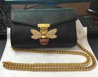 Wholesale Print Logo Handbag - Hot Sale Fashion bee logo Brand Design Women printing Flowers Bags High Quality handbag Shoulder Bag Chain Messenger bag