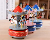 Wholesale Toy Horses Wholesale - Carousel Music Box Birthday Gift Toys For Children Bless Animated Luxury 4 Horse Go Round Musical Swings Carousels Classic Music Box
