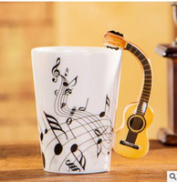 Wholesale Novelty Guitars - Novelty Styles Music Note Guitar Ceramic Cup Personality Milk Juice Lemon Mug Coffee Tea CupDrinkware Unique Musical Notes mug KKA1780