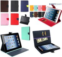 Wholesale Ipad Mercury - Mercury Wallet Smart Leather Case TPU Cover With Card Slot Stand Holder For New iPad 2017 Pro 10.5 2 3 4 5 6 Air 9.7 Mini Mini4